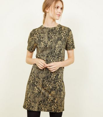 Yellow Snake Print Jacquard Tunic Dress
