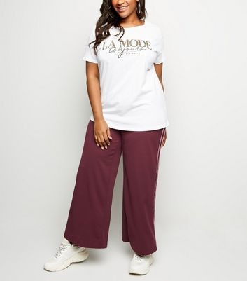 Curves Burgundy Side Piped Wide Leg Joggers