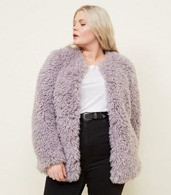 Curves Lilac Curly Faux Fur Coat