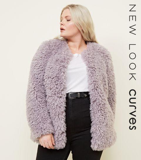 33414626d203a ... Curves Lilac Curly Faux Fur Coat ...
