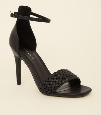 Black Woven Strap Leather-Look Stiletto Heels