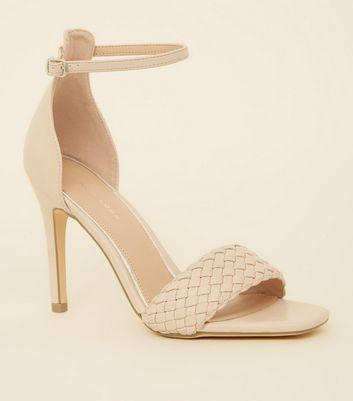 Nude Leather-Look Woven Strap Stiletto Heels
