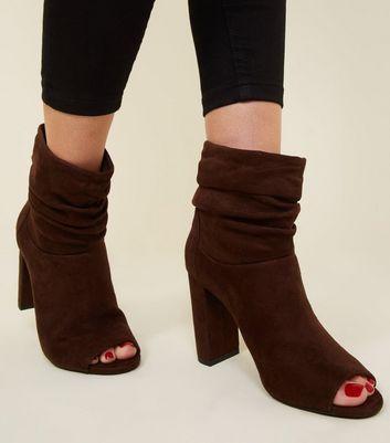 Brown Suedette Slouch Block Heel Boots New Look