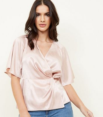 Pale Pink Herringbone Satin Twist Front Top