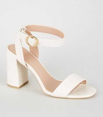 Off White Faux Croc Ring Buckle Block Heels