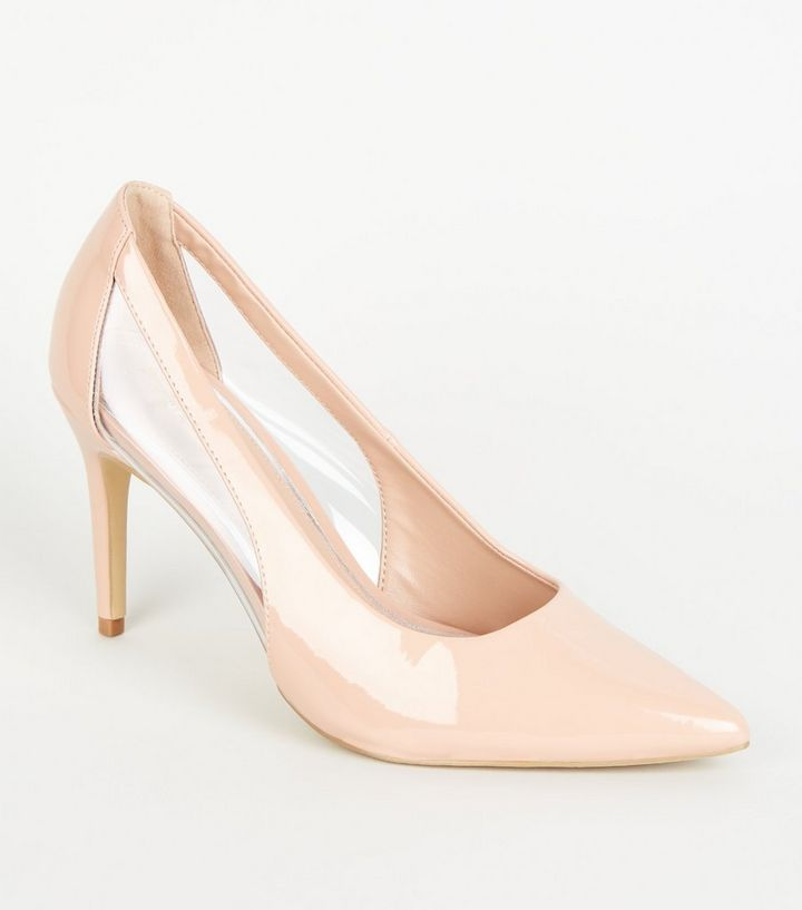3aa33c2d6c136 Nude Patent Clear Panel Mid Heel Courts   New Look