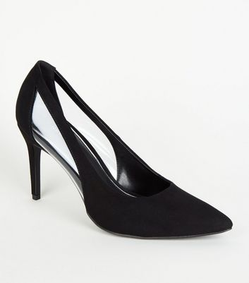 Black Suedette Clear Panel Mid Heel Courts