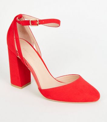 Red Suedette Flare Heel Courts
