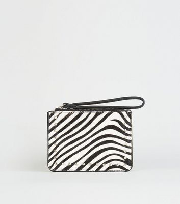 Black Leather Zebra Print Coin Purse