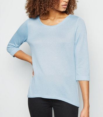 Pale Blue 3/4 Sleeve Fine Knit Top