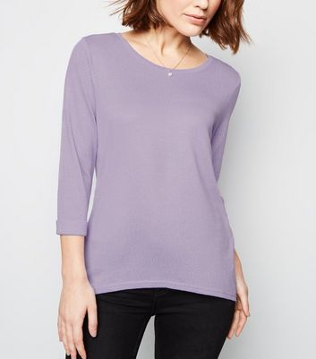 Lilac 3/4 Sleeve Fine Knit Top
