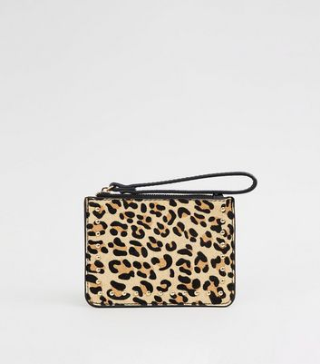 Brown Leather Leopard Print Coin Purse
