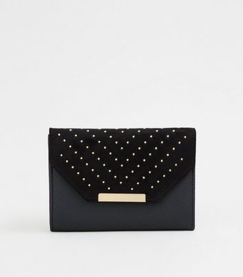 Black Leather-Look Chevron Stud Purse