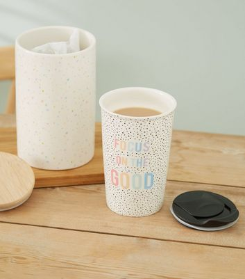 White Focus On The Good Slogan Travel Mug