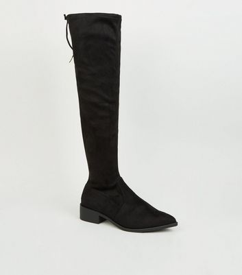 Wide Fit Black Pointed Knee High Boots