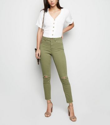 Khaki Ripped Raw Hem Skinny Jenna Jeans by New Look