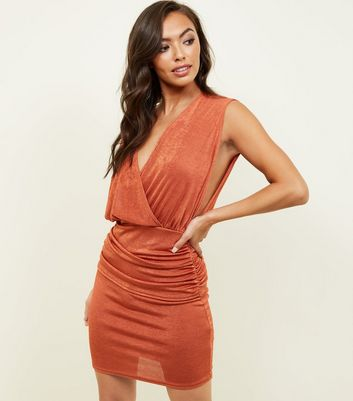 Rust Draped Wrap Front Bodycon Dress