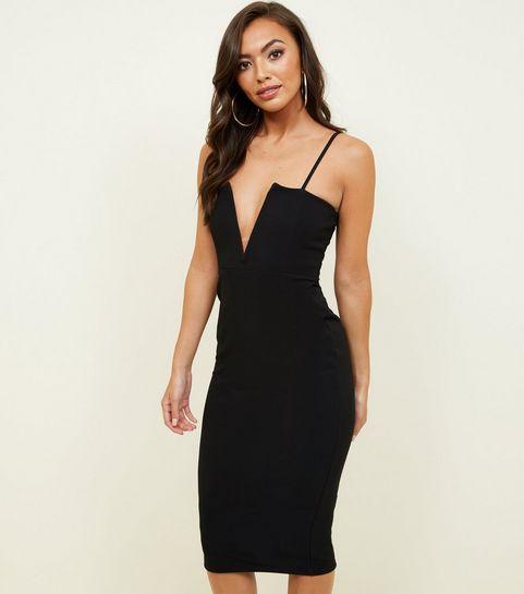 black plunge notch neck bodycon dress - Black Christmas Dress