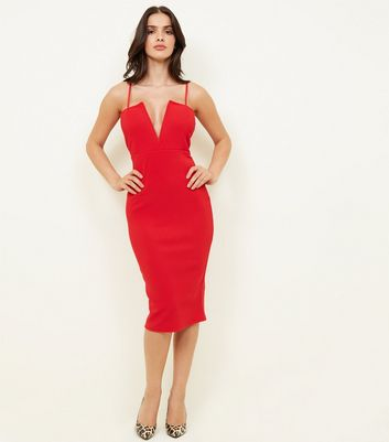 Red Plunge Notch Neck Bodycon Dress
