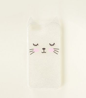 Silver Cat Glitter iPhone 6/6s/7/8 Case