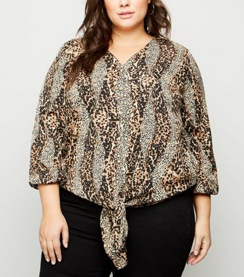 Curves Brown Leopard Print Tie Front Shirt