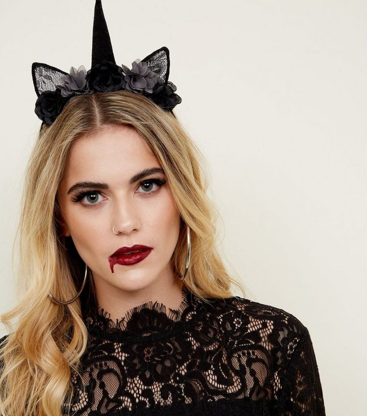 Black Floral Unicorn Halloween Headband  782bae2c165