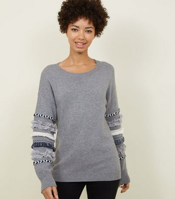 Cameo Rose Pale Grey Tassel Sleeve Jumper