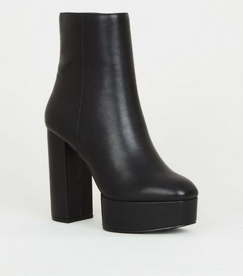 Black Leather Look Heeled Platform Ankle Boots by New Look