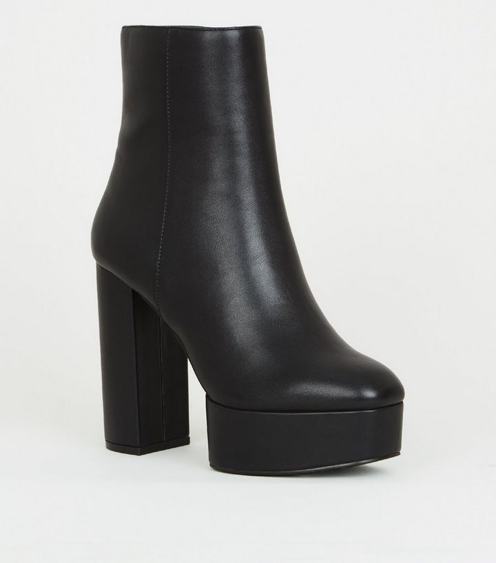 71bec9b2ff0 Black Leather-Look Heeled Platform Ankle Boots