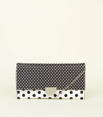Black Polka Dot Leather-Look Clutch Bag