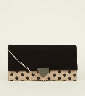 Camel Contrast Polka Dot Clutch Bag