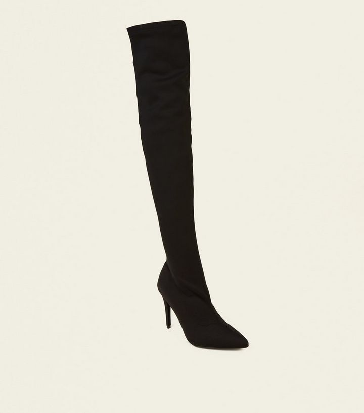 847d4178ff Black Stretch Pointed Over the Knee Sock Boots | New Look
