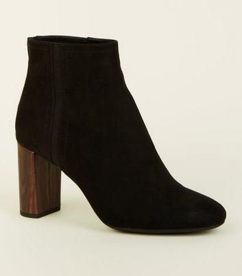 Black Wooden Look Heel Ankle Boots by New Look