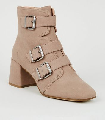 Light Brown Buckle Side Square Toe Boots