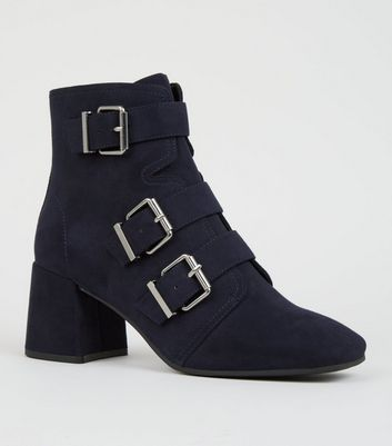 Navy Buckle Side Square Toe Boots