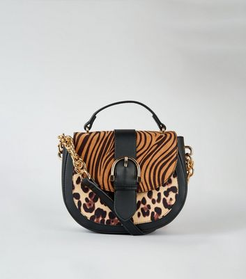 Brown Tiger and Leopard Print Saddle Bag