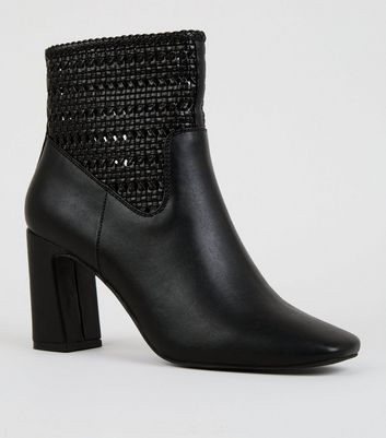 Black Leather-Look Woven Flare Heel Boots