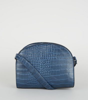 Navy Faux Croc Curved Cross Body Bag