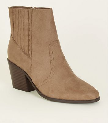 Light Brown Square Toe Heeled Western Boots