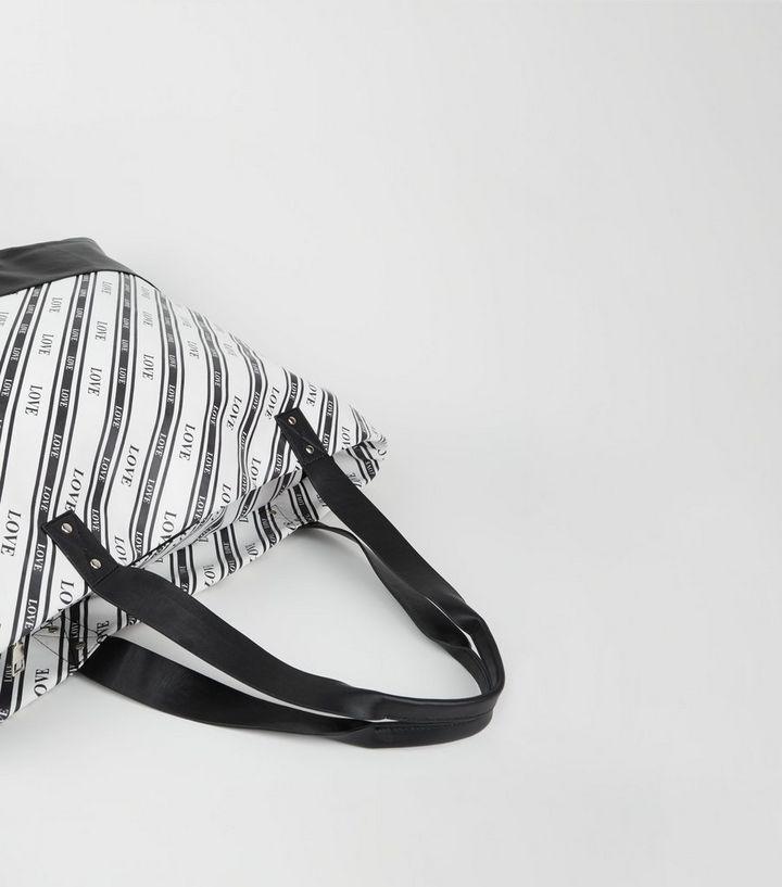 f71af2d9b1 Black Stripe Love Slogan Oversized Tote Bag | New Look