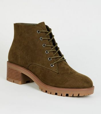Khaki Suedette Chunky Sole Lace Up Boots