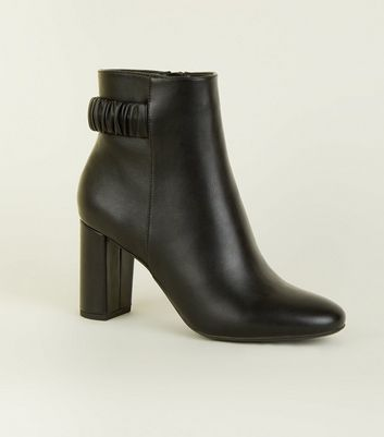 Black Leather-Look Elastic Back Strap Ankle Boots