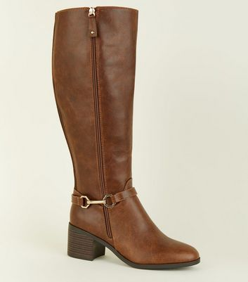 Tan Leather-Look Knee High Western Boots