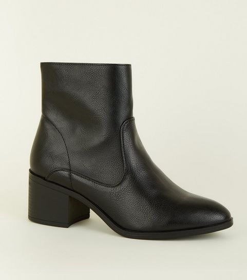 d0570444460 ... Black Leather-Look Block Heel Ankle Boots ...