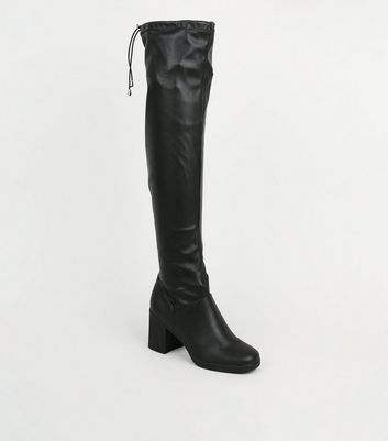 Black Leather-Look Square Toe Over the Knee Boots