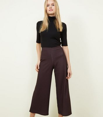 Brown Gingham Check Cropped Trousers