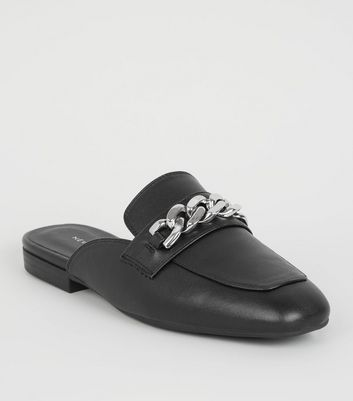 Black Chain Strap Loafer Mules
