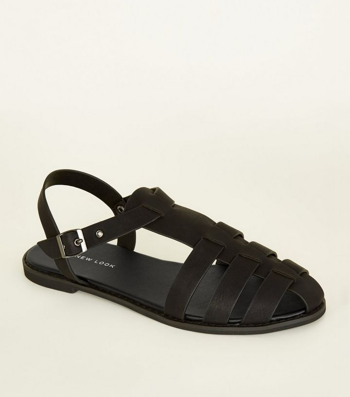 d803b6283218 Black Leather-Look Caged Flat Sandals