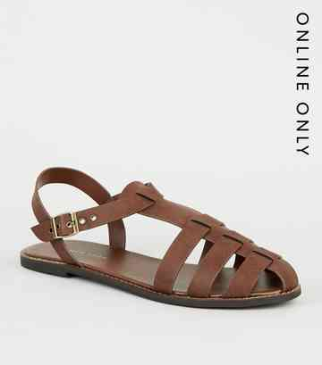 Rust Leather-Look Caged Flat Sandals