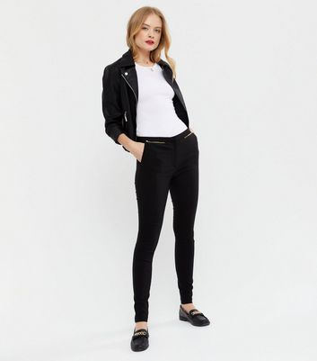 Black Zip Slim Leg Bengaline Trousers